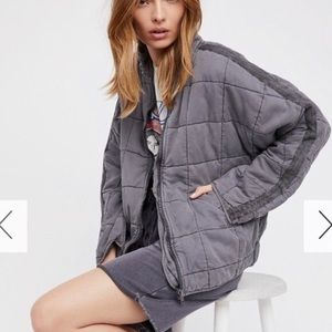Free People Dolman Quilted Knit Jacket Gray